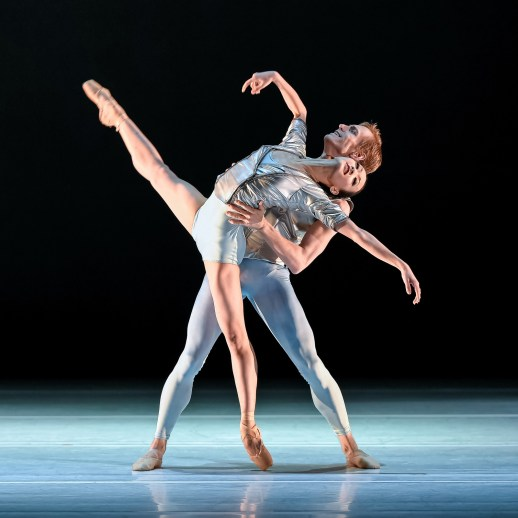 Xuan Cheng and Chauncey Parsons in the company premiere of Nicolo Fonte's Presto, one of four works on Oregon Ballet Theatre's IMPACT program, running April 16 - 25, 2015 at the Newmark Theatre. Photo by Yi Yin.